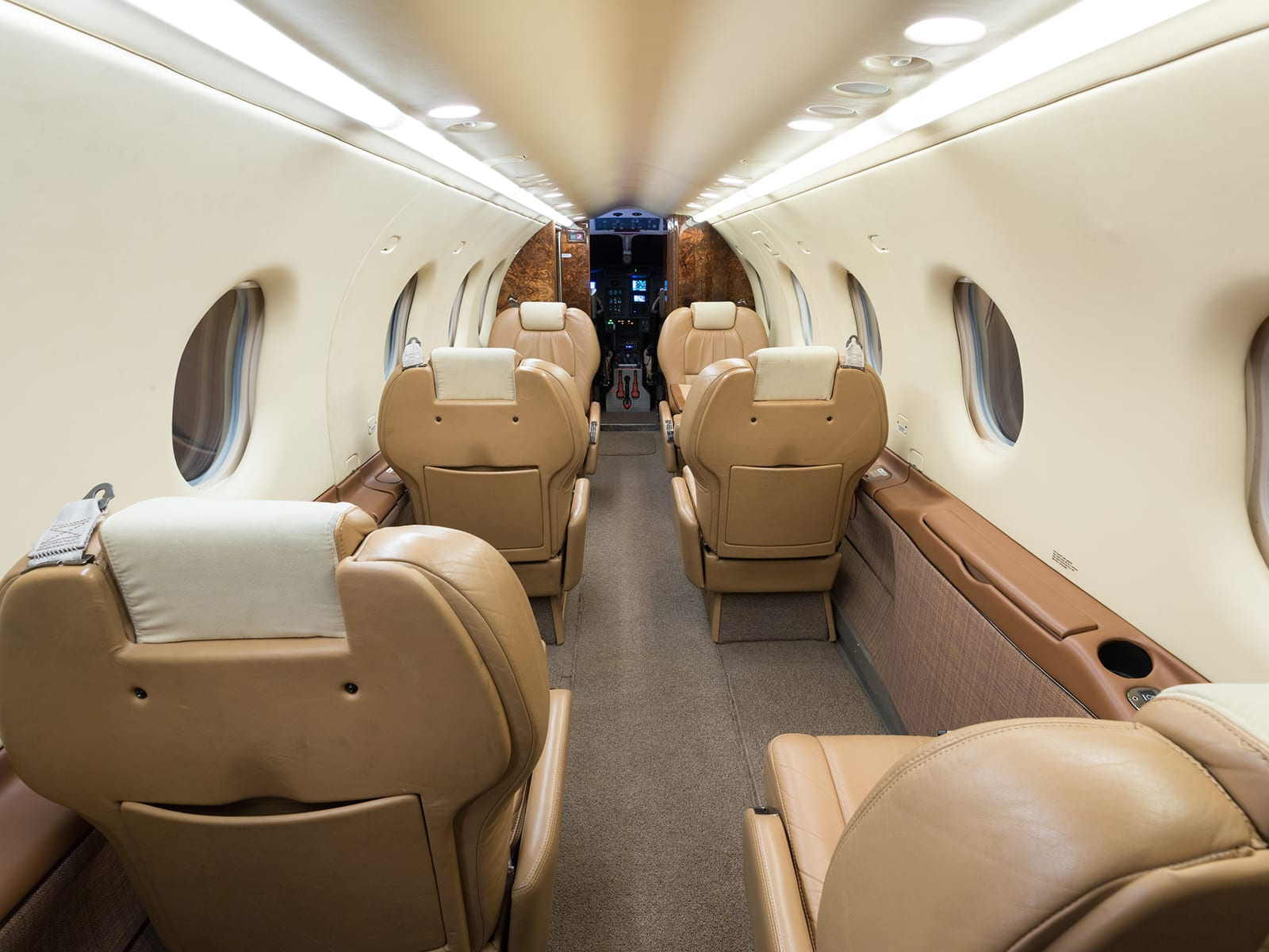 The inside of a Priority Jet Pilatus Pc-12