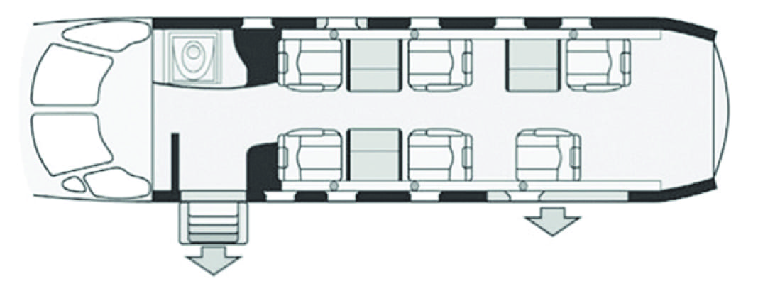 A seating chart for a Priority Jet Cessna Citation
